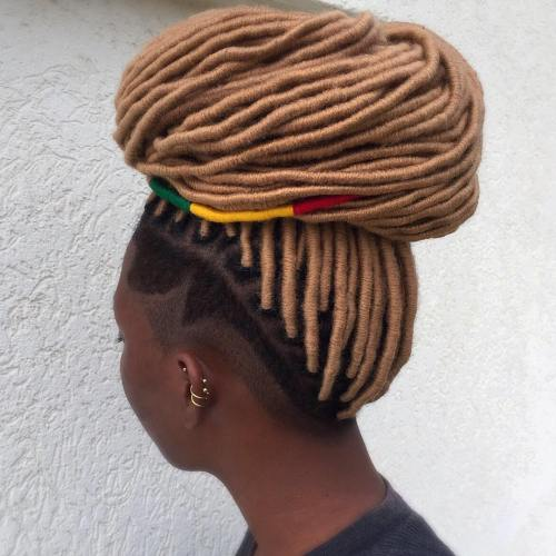 Light Brown Fake Locs With Side Undershaves