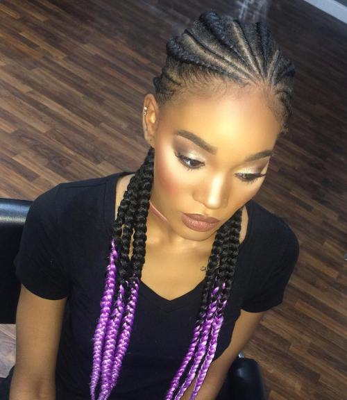 Black Braids With Pastel Purple Ends