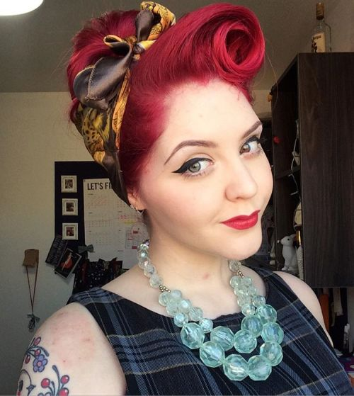 Red Victory Roll Updo With Head Scarf