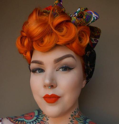20 gorgeous bandana hairstyles for cool girls curly red bandana updo urmus Gallery