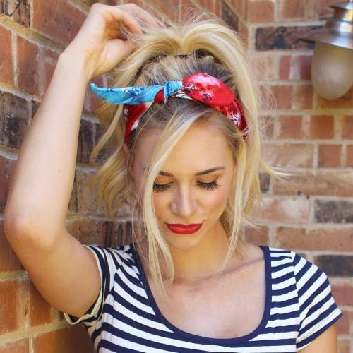 20 gorgeous bandana hairstyles for cool girls messy ponytail with a scarf urmus Gallery