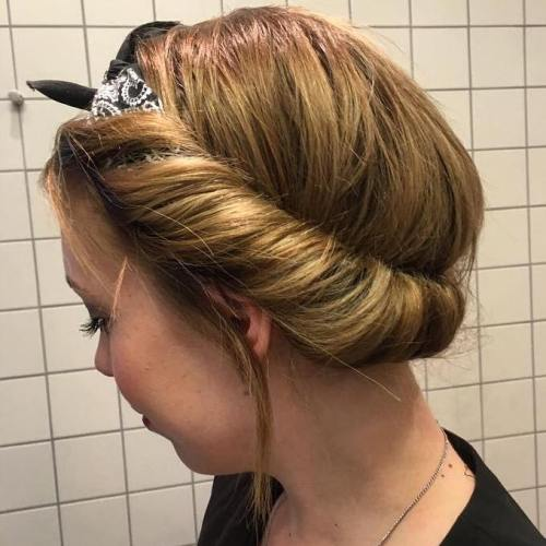 Roll Updo With A Head Scarf