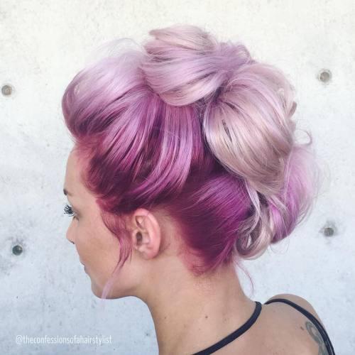 Pastel Purple Mohawk Updo