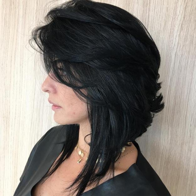 Layered Angled Black Lob