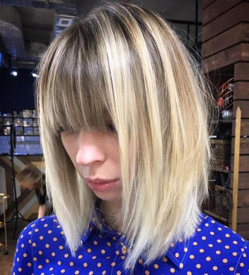 Layered Lob With Bangs For Straight Hair