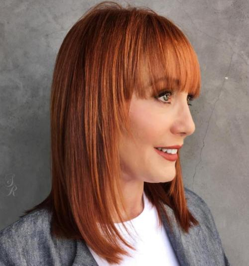 med haircuts with bangs 20 and flattering medium hairstyles for of all ages 2338
