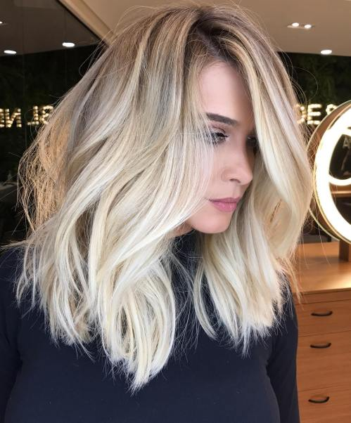 Blonde Choppy Lob Blowout