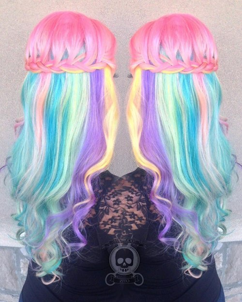Cotton Candy Half Updo For Long Hair