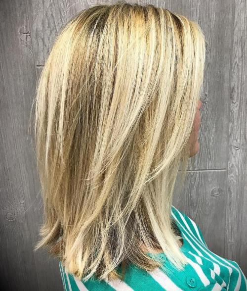 Medium-To-Long Layered Blonde Hairstyle