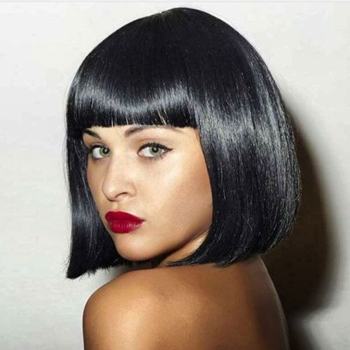Black Blunt Bob With Bangs