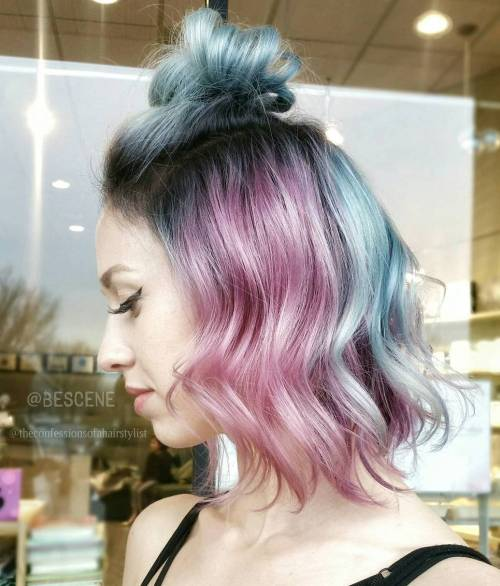 Washed Pastel Blue And Pink Hair