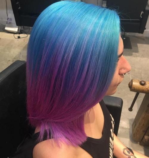 Pastel Blue To Lavender Ombre Bob