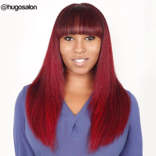 Long Burgundy Hair With Blunt Cut Bangs