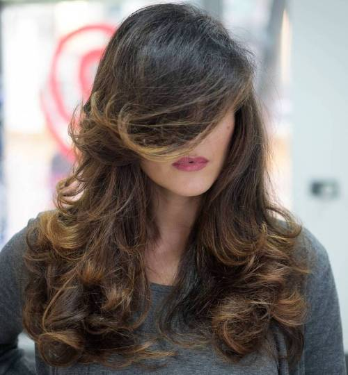 Curly Layered Brown Balayage Haar