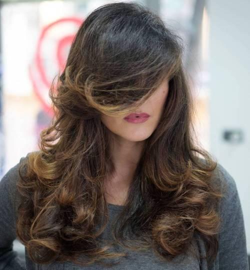 Curly Layered Brown Balayage Hair