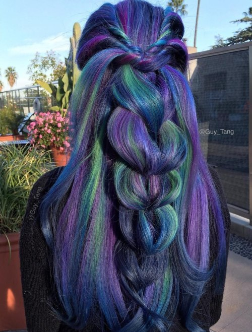 Dark Blue Hair With Green And Purple Highlights