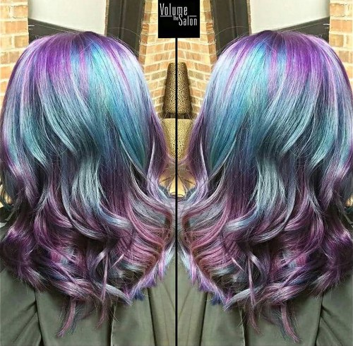 Purple And Teal Balayage Hair