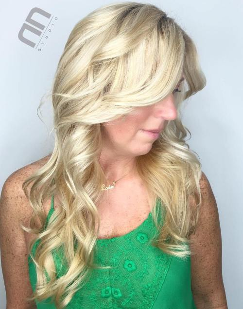 Curly Long Blonde Hairstyle