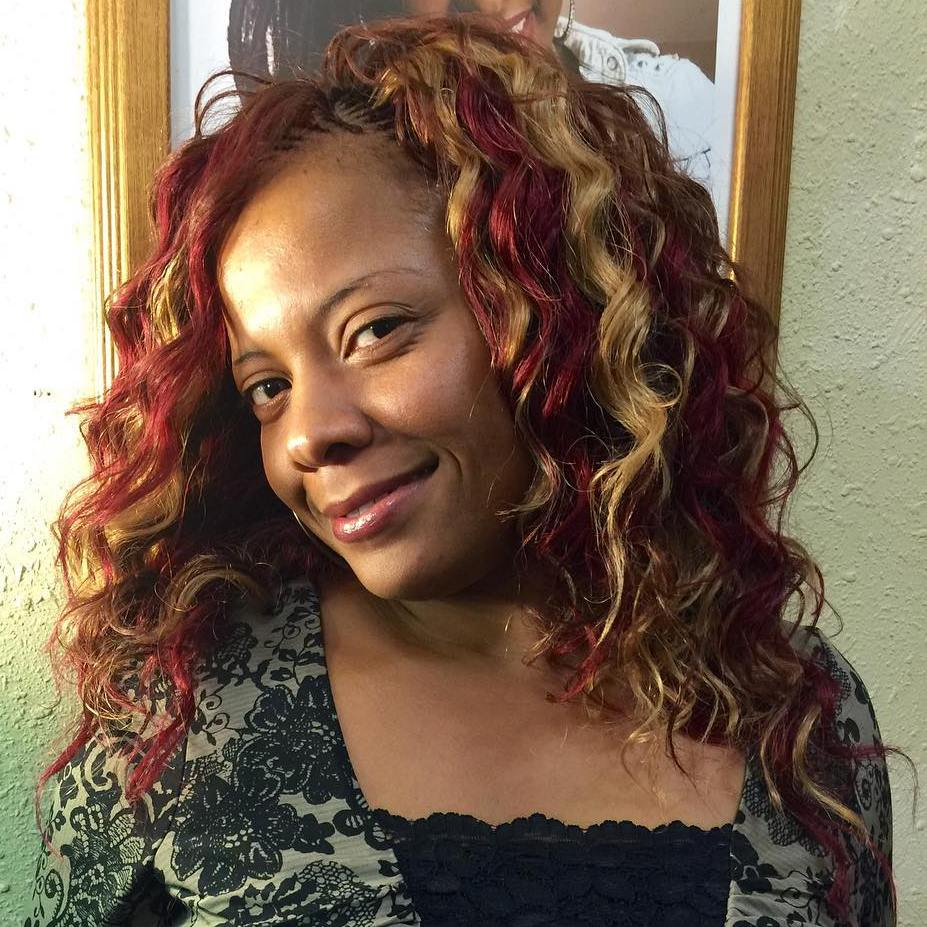 Red And Blonde Curly Crochet Hairstyle