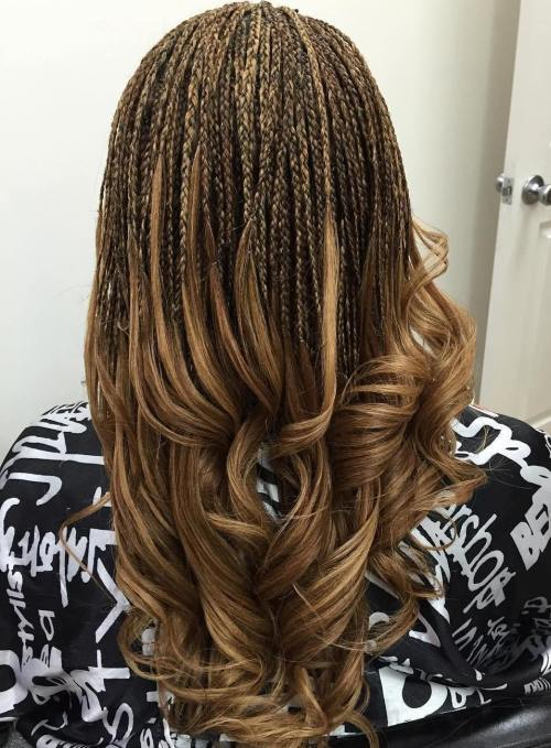 Highlighted Micro Braids With Curly Ends