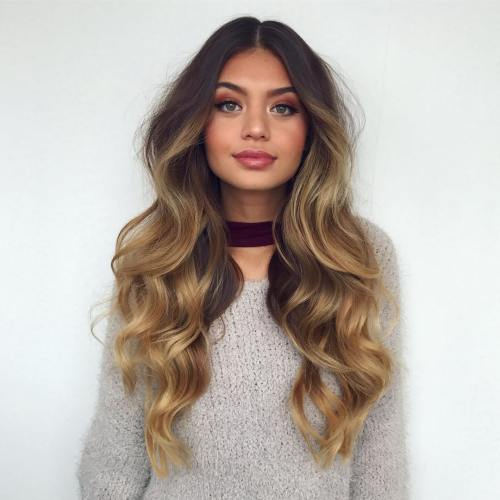 Long Brown Blonde Balayage Hair