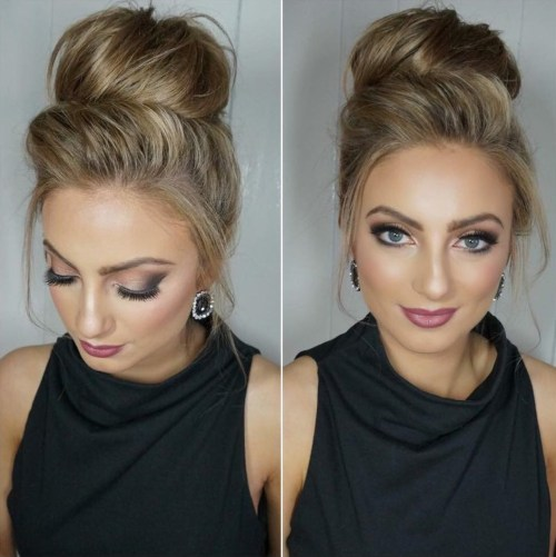 high blonde bun