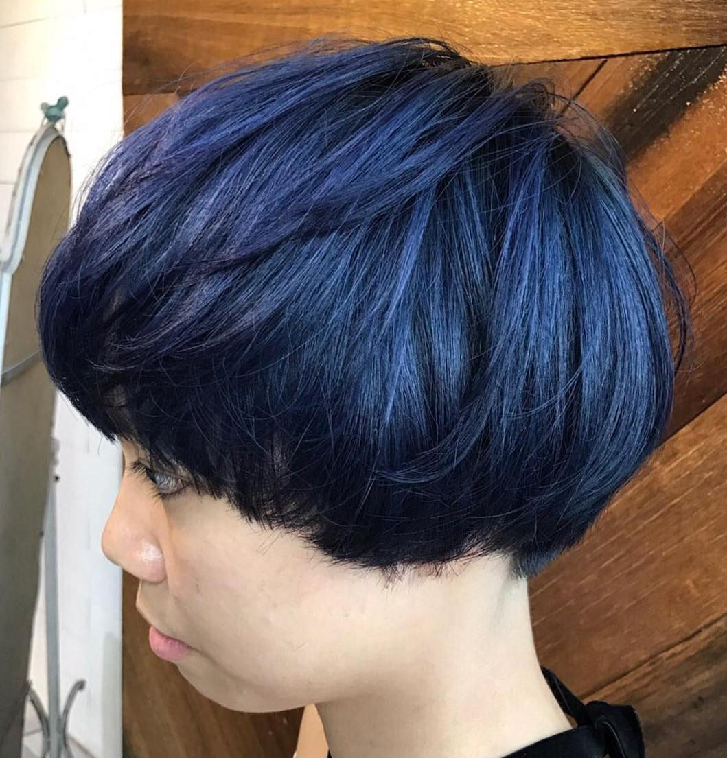 Blue Black Bowl Cut