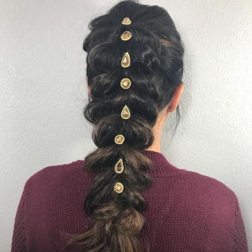 Large Braid With Vintage Clips