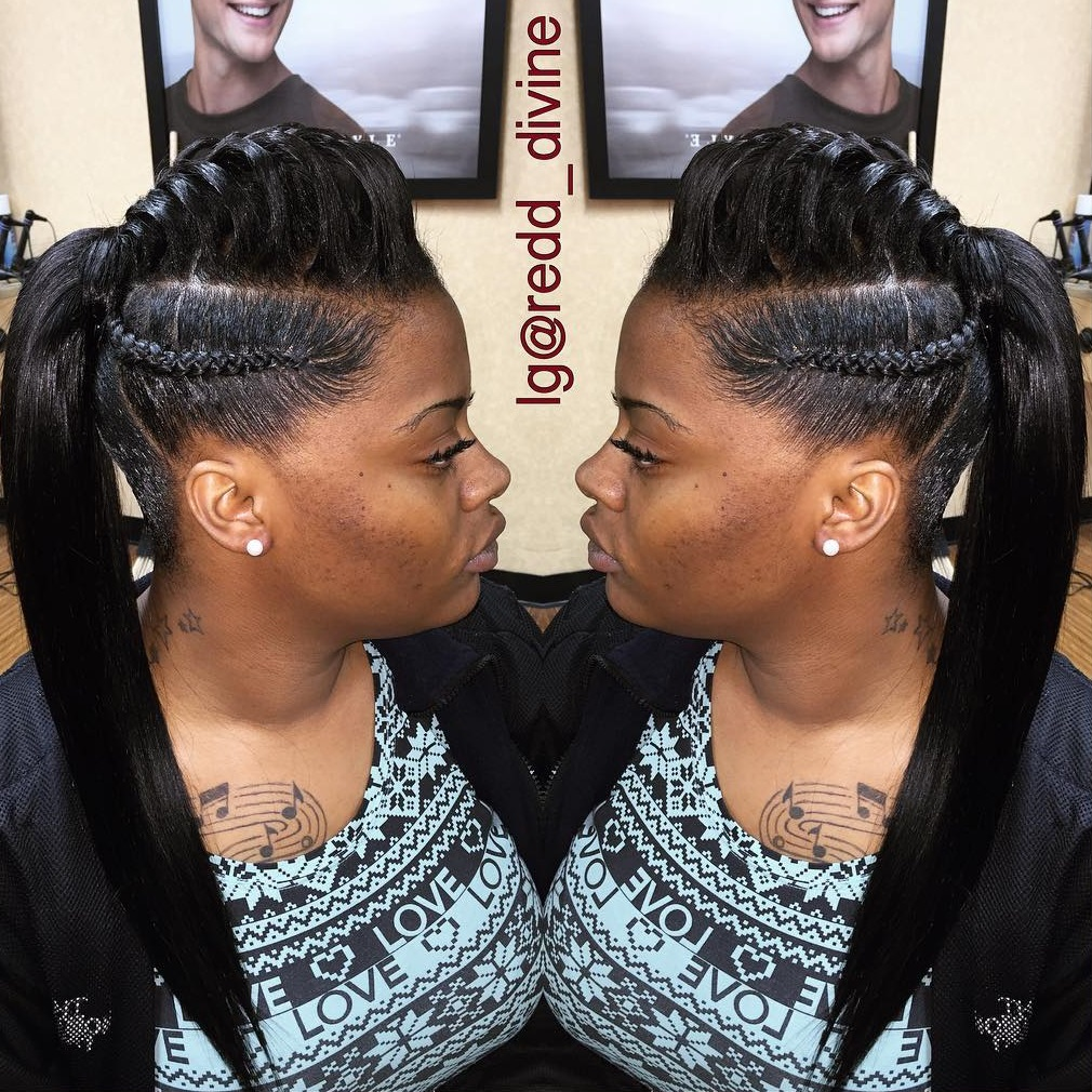 Mohawk Underbraid With A Sleek Ponytail