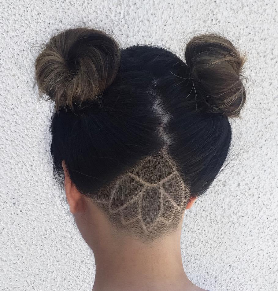Two Buns Updo With Nape Undercut