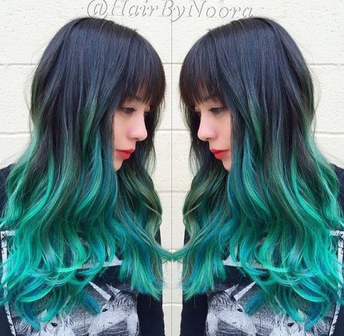 Black To Teal Ombre Hair With Bangs