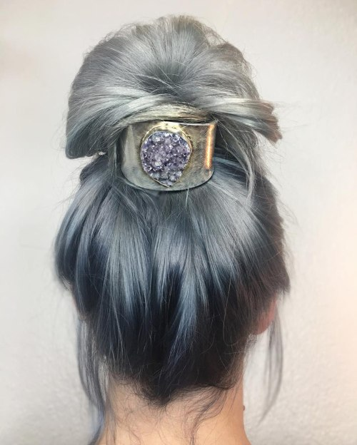 High Gray Bun Updo