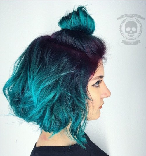 Black To Bright Teal Ombre Bob