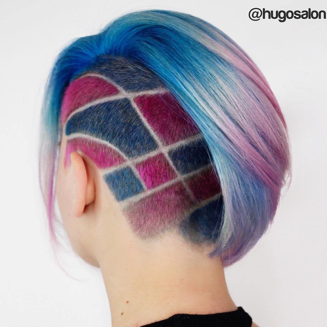 Pastel Bob With Asymmetrical Undercut
