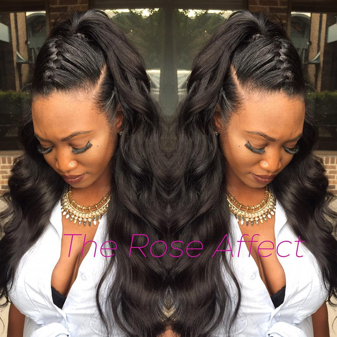 Half Updo For A Long Weave