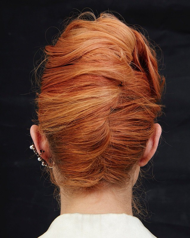 Red French Roll Updo
