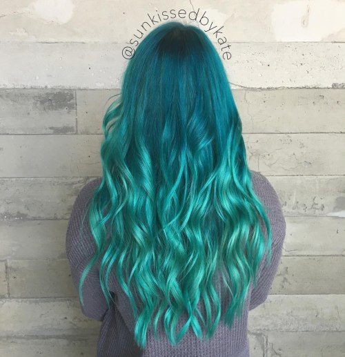 Teal To Turquoise Ombre