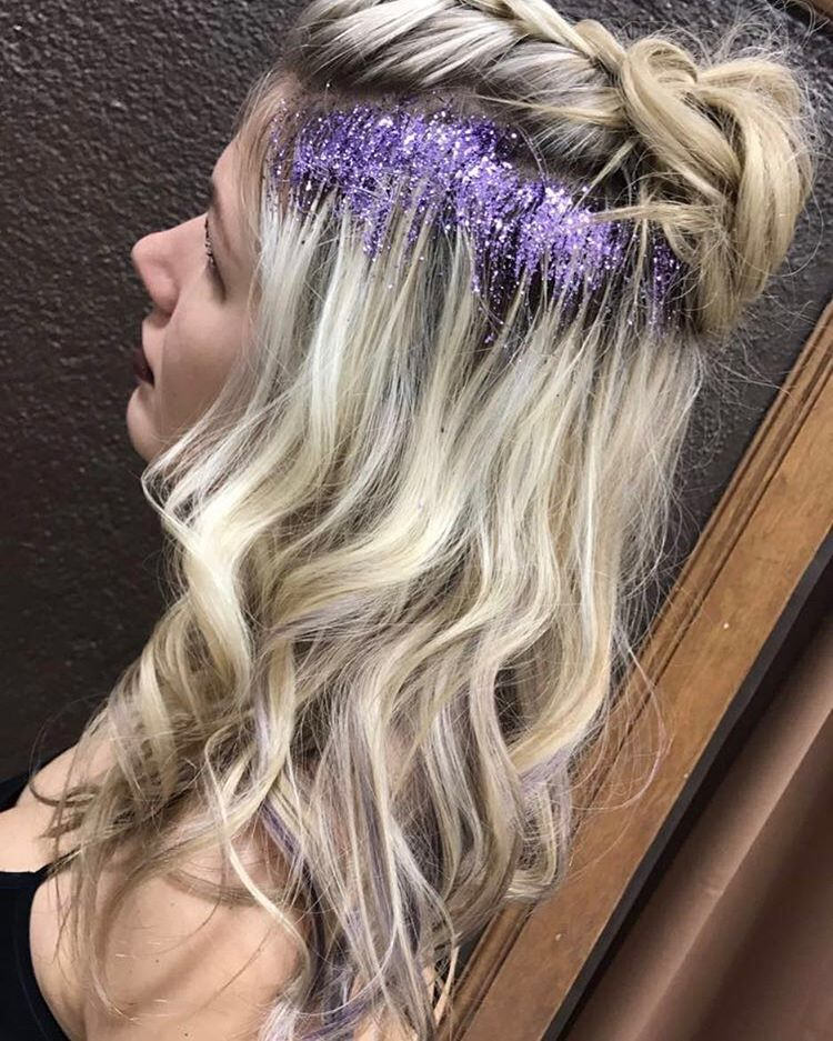 Half Updo With Hair Glitter