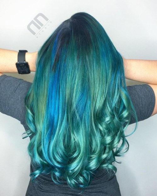 Teal Hair With Blue Highlights