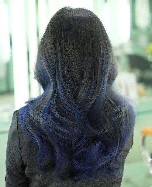blue balayage for black hair