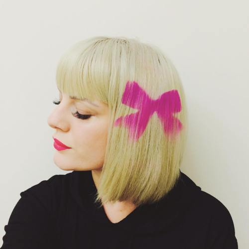 Blonde Bob With A Pink Bow Hair Tattoo