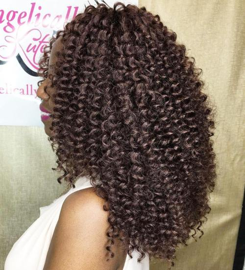 Chocolate Brown Curly Sew-In