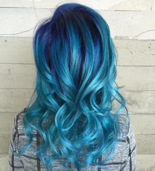 Blue Hair With Purple Roots