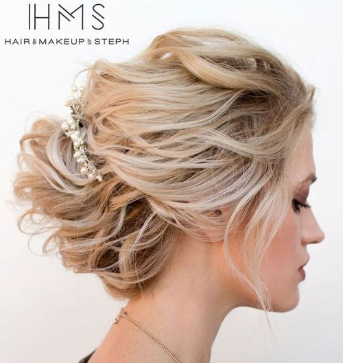 Top 20 wedding hairstyles for medium hair disheveled blonde updo for medium hair pmusecretfo Choice Image