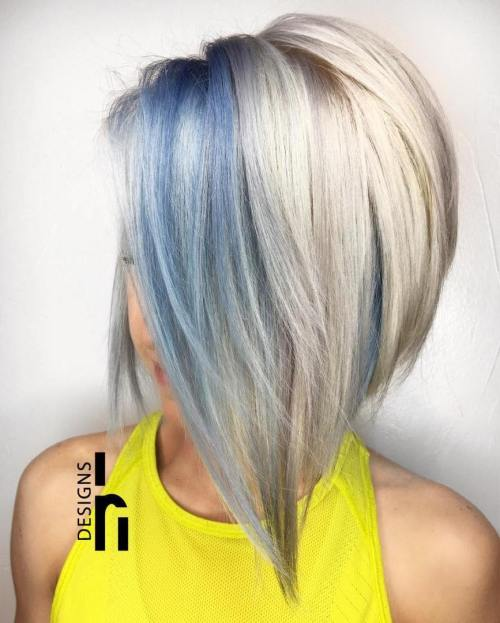 30 icy light blue hair color ideas for girls blue and blonde bob urmus Choice Image