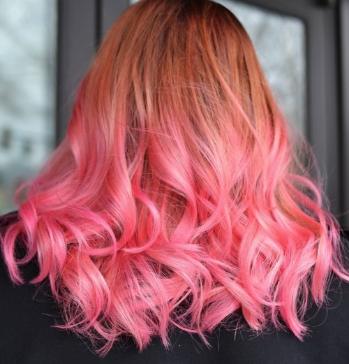 copper to pastel pink ombre