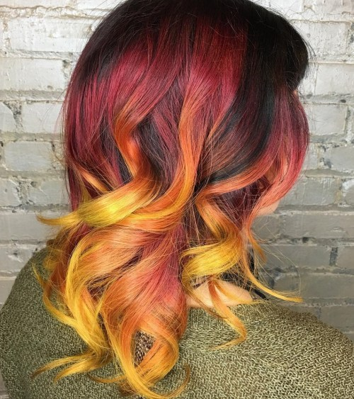 burgundy and orange balayage hair