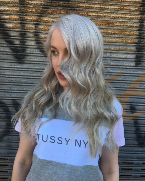 Wavy Layered Gray Hairstyle
