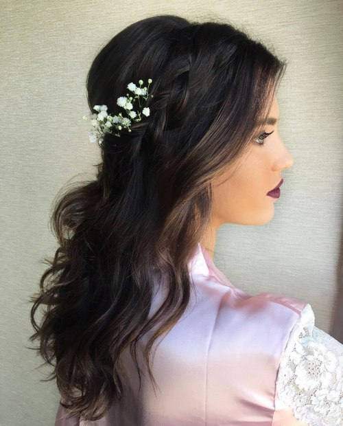 Bridal Simple Wavy Half Updo