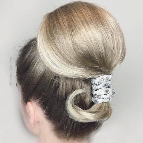 Sleek Ponytail Updo For A Bride